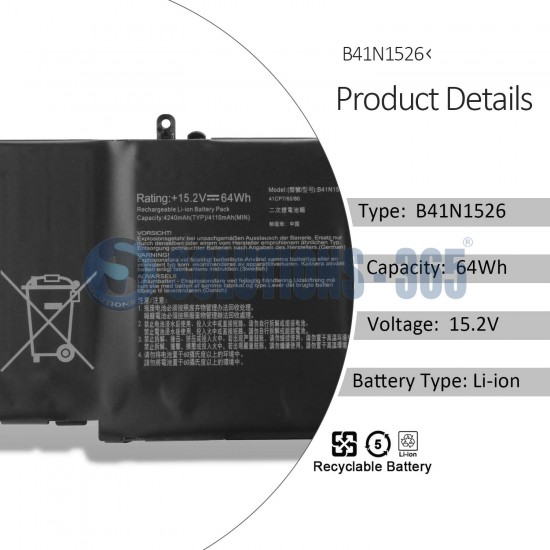 LAPTOP BATTERY FOR ASUS GL502V B41N1526